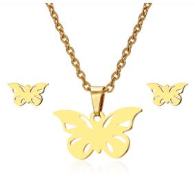 ZESTAW: Naszyjnik + kolczyki stal chirurgiczna Motyl złoty